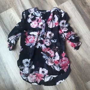 Tops - Navy and Floral Blouse